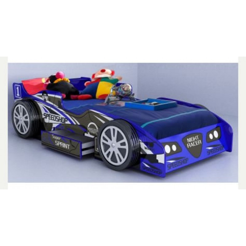 Electric Beds Ni : Kids blue night racer bed