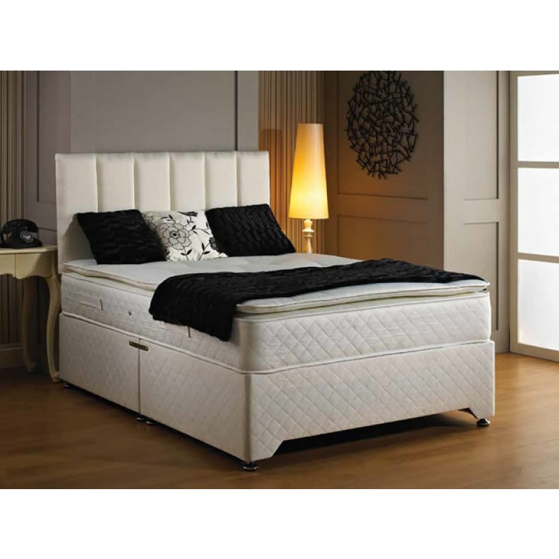 Luxury oxford pillow top divan bed 4 39 6 double 4 39 6 for 4 6 divan beds