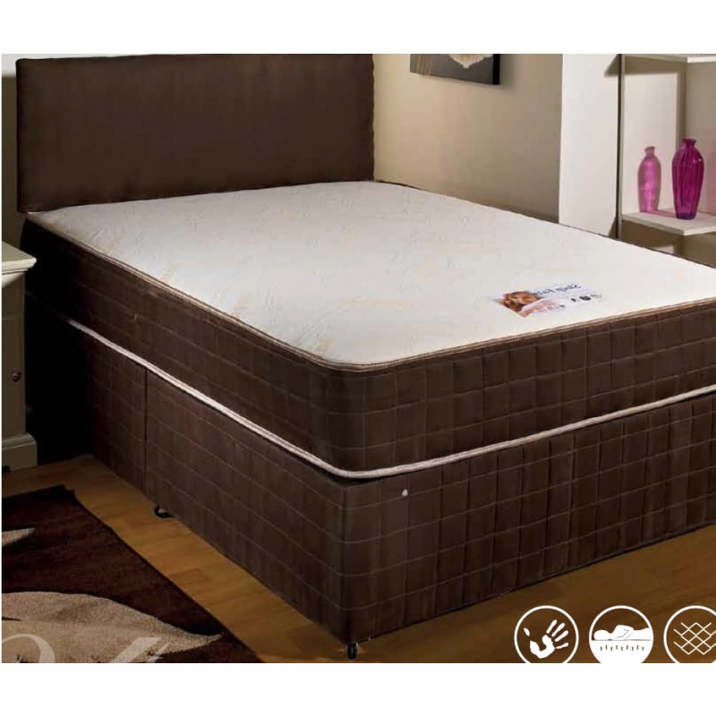 Luxury sleep eazy memory divan bed double 4 39 6 double for Double divan bed no headboard