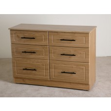 Mya Oak 6 Drawer Chest Long