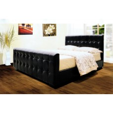"Dakar PU Leather Bed Black / Brown  - (4'6"")"