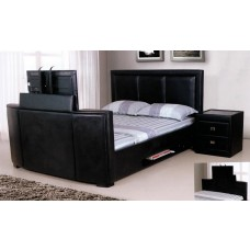 "Galactic  PU Leather TV Bed Black / Brown  - (4'6"")"
