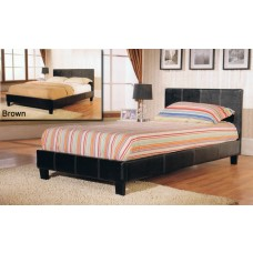 Haven PU Leather Bed Black / Brown / White - (4')