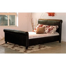 "Henley PU Leather Bed Black / Brown  - (4'6"")"