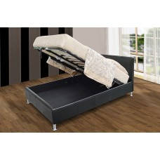 Kenneth PU Leather Storage Bed Black / Brown  - (4'6)