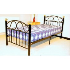 "Lisa - Black / White / Silver Metal Bed (4'6"")"