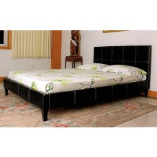 "Odessa PU Leather Bed Black / Brown / Cream - (4'6"")"