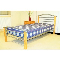 Pacific - Beech Posts Silver Metal Bed (4'6