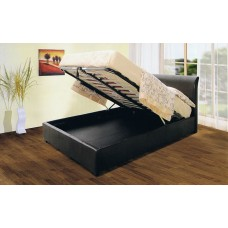"Savona PU Leather Storage Bed Black / Brown  - (4'6"")"
