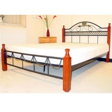 "Veronica Black & Gold or Black & Silver Metal Bed (4'6"")"